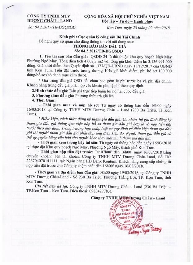 Đấu giá quyền sử dụng đất tại TP.Kom Tum, Kom Tum - ảnh 1