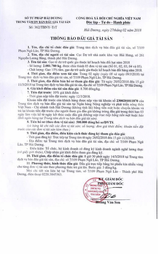 Đấu giá gạo tẻ dự trữ quốc gia tại Hải Dương - ảnh 1