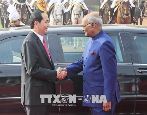 Chủ tịch nước Trần Đại Quang và Tổng thống Ấn Độ Ram Nath Kovind. Ảnh: TTXVN