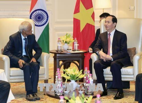 Chủ tịch nước Trần Đại Quang tiếp đồng chí Sudhakar Reddy, Chủ tịch Đảng Cộng sản Ấn Độ. Ảnh: Nhan Sáng