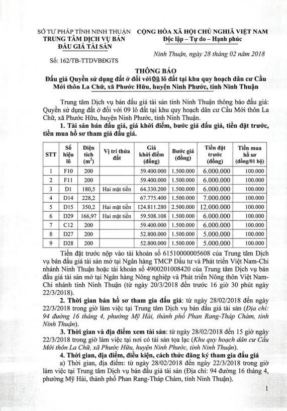 Đấu giá quyền sử dụng đất tại huyện Ninh Phước,  Ninh Thuận - ảnh 1