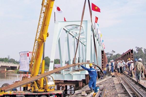 Rất nhiều cầu yếu trên tuyến đường sắt Bắc-Nam cần được nâng cấp, thay thế để tăngnăng lực chạy tàu. Trong ảnh: Thay thế cầu Bà Bầu, huyện Núi Thành, Quảng Nam. Ảnh: Báo Giao thông