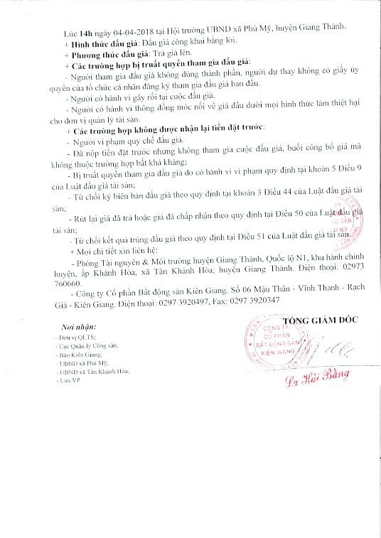 Đấu giá quyền sử dụng đất tại huyện Giang Thành, Kiên Giang - ảnh 2