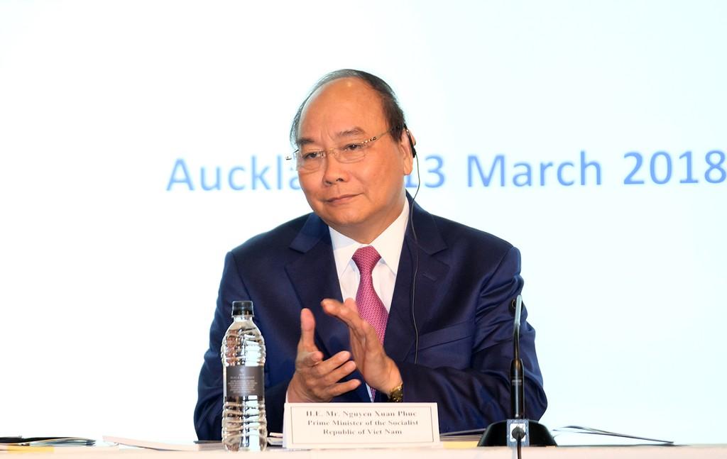 Thủ tướng Nguyễn Xuân Phúc tham dự Diễn đàn Doanh nghiệp Việt Nam-New Zealand. Ảnh: VGP