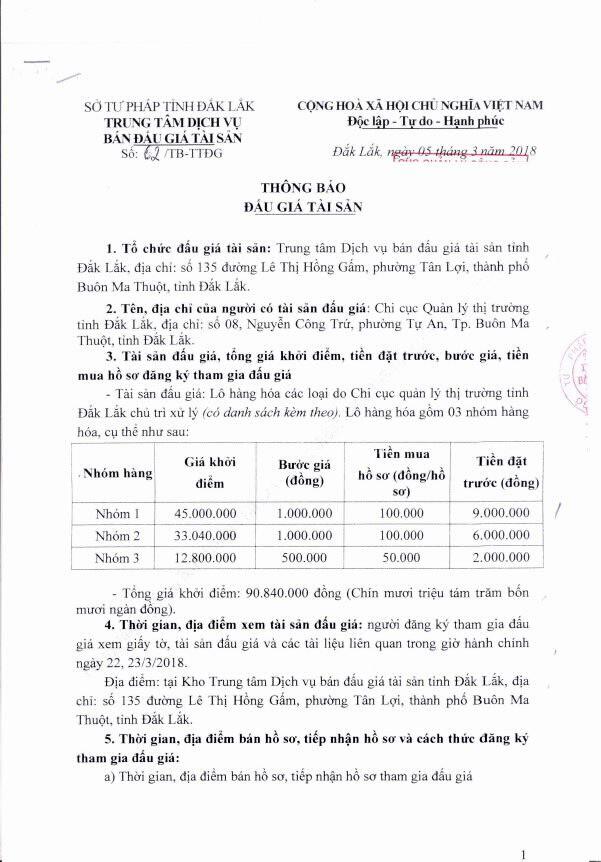 Đấu giá lô hàng hóa tịch thu sung công quỹ tại Đắk Lắk - ảnh 1