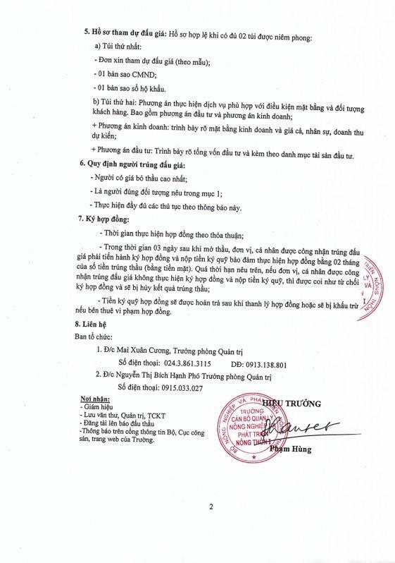 Đấu giá cung cấp dịch vụ nhà ăn và cho thuê hội trường tại Hà Nội - ảnh 2