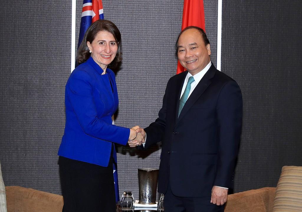 Thủ tướng Nguyễn Xuân Phúc tiếp bà Gladys Berejiklian, Thủ hiến bang New South Wales. Ảnh: VGP