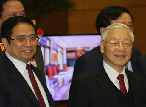 Trưởng ban Tổ chức Trung ương Phạm Minh Chính và Tổng Bí thư Nguyễn Phú Trọng tại Hội nghị toàn quốc về công tác tổ chức xây dựng Đảng ngày 19/1.