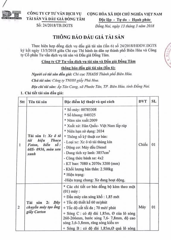 Đấu giá xe ô tô và máy móc thiết bị tại Đồng Nai - ảnh 1