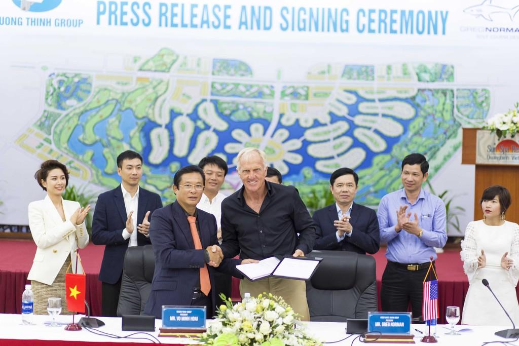 Lễ ký kết hợp đồng tư vấn thiết kế sân golf Bảo Ninh Trường Thịnh giữa Công ty CP Tập đoàn Trường Thịnh và Tập đoàn The Great White Shark.