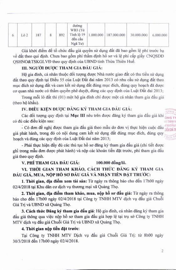 Đấu giá quyền sử dụng đất tại huyện Quảng Điền, Thừa Thiên Huế - ảnh 2
