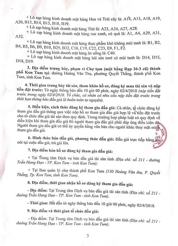 Đấu giá cho thuê quyền kinh doanh tại chợ tạm, TP.Kon Tum, Kon Tum - ảnh 3