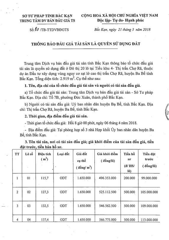 Đấu giá quyến sử dụng đất tại huyện Ba Bể, Bắc Kạn - ảnh 1