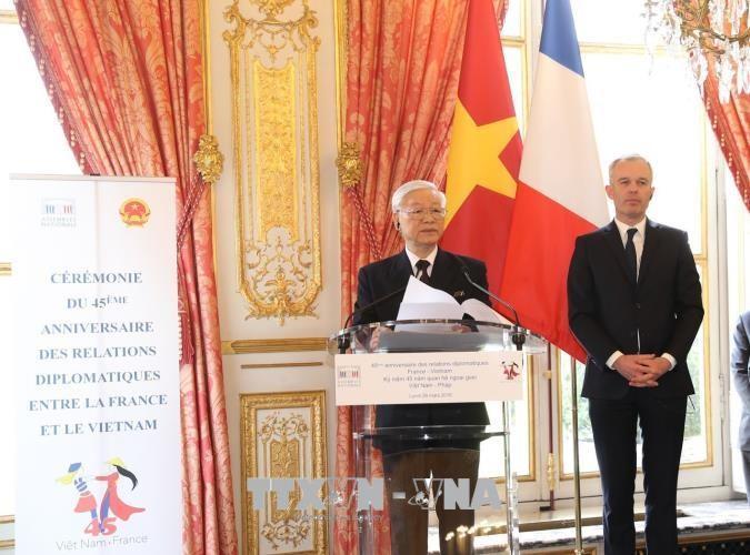 Tổng Bí thư dự Lễ kỷ niệm 45 năm quan hệ ngoại giao Việt Nam-Pháp - ảnh 1