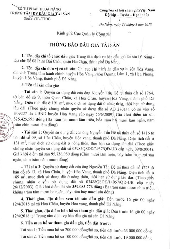 Đấu giá quyền sử dụng đất tại huyện Hòa Vang, Đà Nẵng - ảnh 1