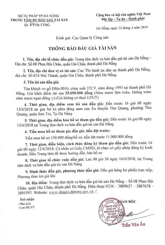 Đấu giá tàu khách vỏ gỗ tại Đà Nẵng - ảnh 1