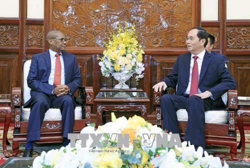 Chủ tịch nước Trần Đại Quang tiếp Đại sứ Nam Phi Mpetjane Kgaogelo Lekgoro. Ảnh: TTXVN