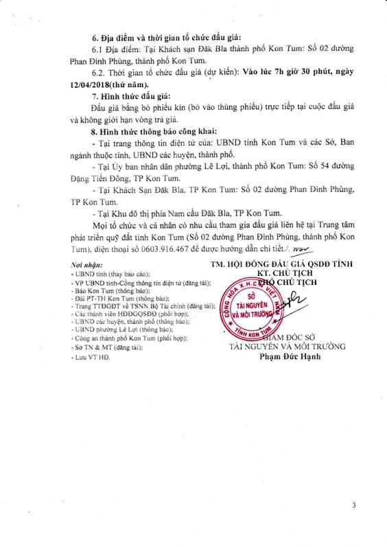 Đấu giá quyền sử dụng đất tại TP. Kon Tum, Kon Tum - ảnh 3