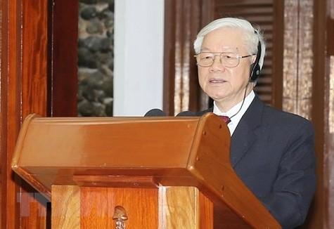 Tổng Bí thư Nguyễn Phú Trọng phát biểu tại buổi lễ. Ảnh: TTXVN