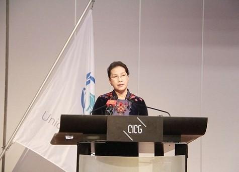 Chủ tịch Quốc hội Nguyễn Thị Kim Ngân phát biểu tại phiên họp toàn thể Đại hội đồng Liên minh nghị viện Thế giới (IPU) - Ảnh: VOV