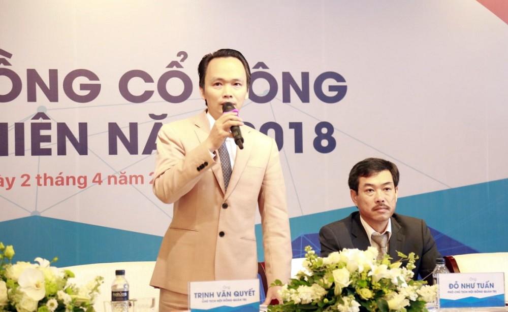 Ông Trịnh Văn Quyết - Chủ tịch HĐQT FLC Faros phát biểu tại ĐHĐCĐ.