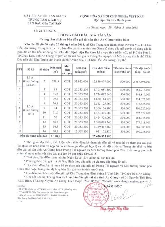 Đấu giá quyền sử dụng đất tại TP.Châu Đốc, An Giang - ảnh 1
