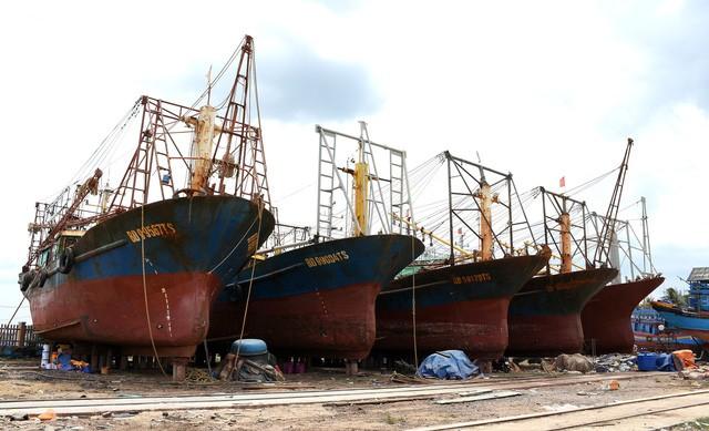 5 tàu vỏ thép của ngư dân Bình Định do Công ty Đại Nguyên Dương đóng bị hư hỏng nặng trong năm 2017 phải nằm bờ sửa chữa nhiều tháng liền