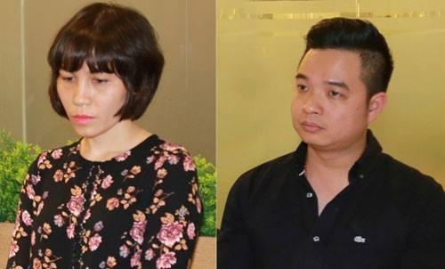 Bị can Châu Nguyên Anh (mặc áo hoa) và bị can Phạm Quang Minh.