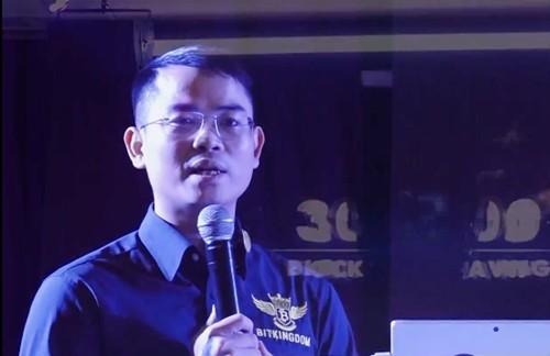 Hồ Xuân Văn chia sẻ trong một sự kiện kêu gọi đầu tư tiền ảo dưới tư cách thủ lĩnh Bitkingdom.