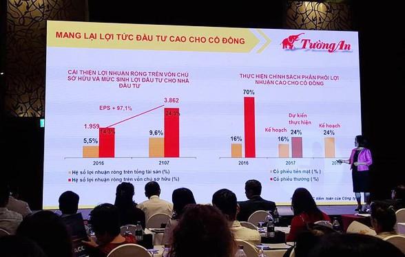 Chủ tịch Nguyễn Thị Hạnh trình bày nội dung tại Đại hội cổ đông thường niên Tường An năm 2018