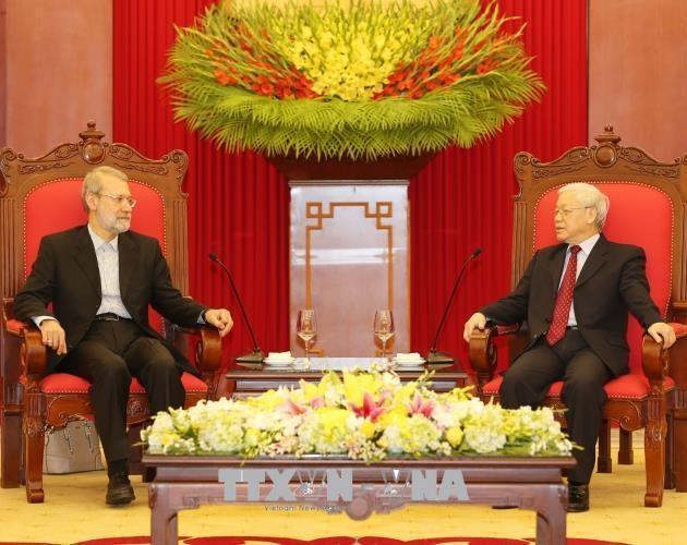 Tổng Bí thư Nguyễn Phú Trọng và Chủ tịch Quốc hội Cộng hòa Hồi giáo Iran Ali Ardeshir Larijani