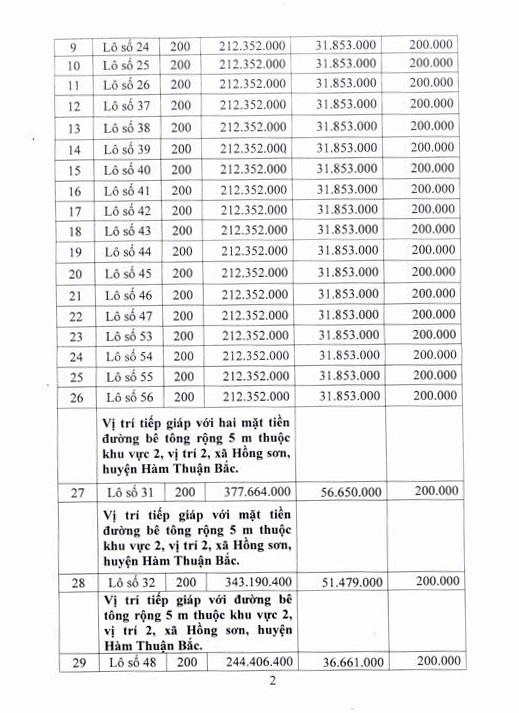 Đấu giá quyền sử dụng đất tại huyện Hàm Thuận Bắc, Bình Thuận - ảnh 2