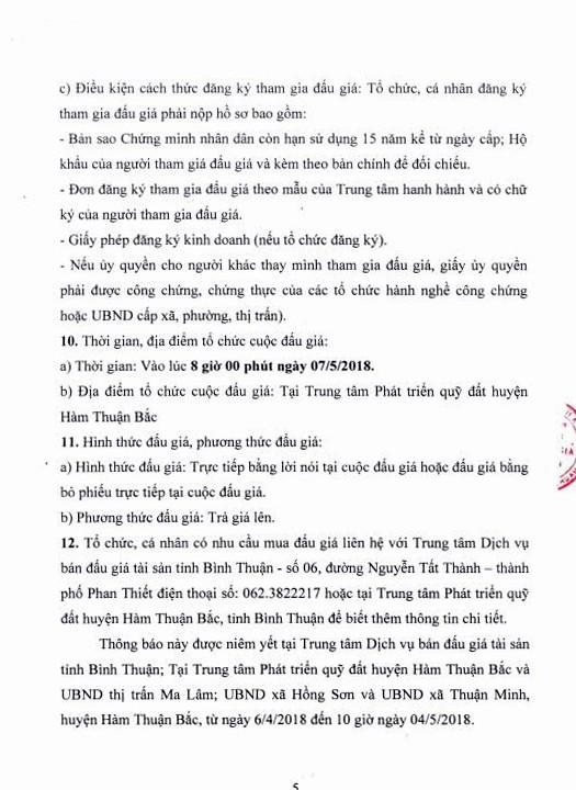 Đấu giá quyền sử dụng đất tại huyện Hàm Thuận Bắc, Bình Thuận - ảnh 5