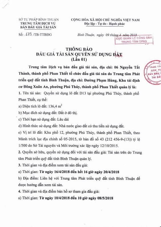 Đấu giá quyền sử dụng đất tại TP.Phan Thiết, Bình Thuận - ảnh 1
