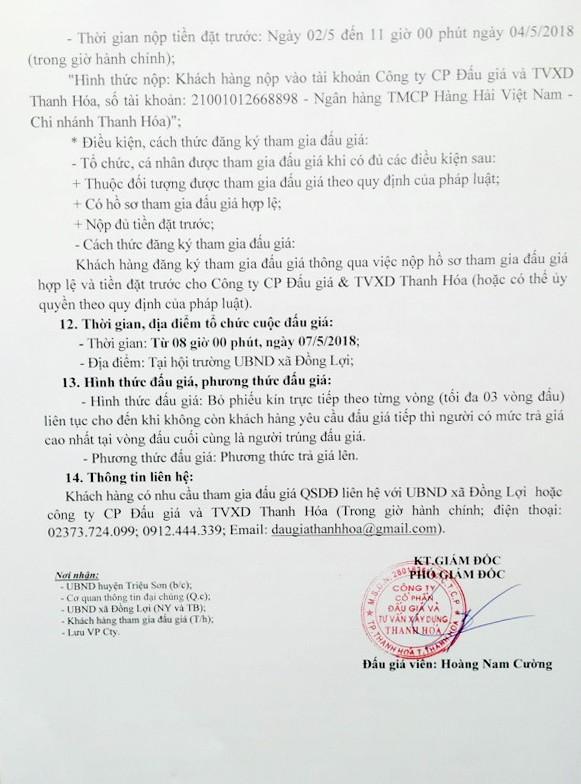 Đấu giá quyền sử dụng đất tại huyện Triệu Sơn, Thanh Hóa - ảnh 2