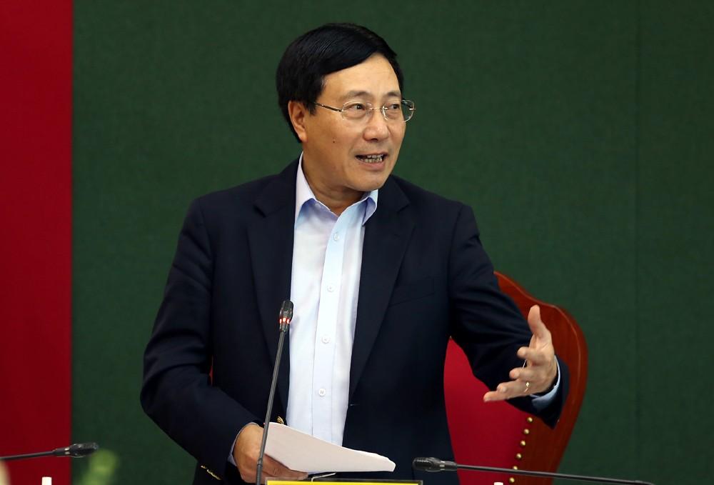 Phó Thủ tướng Phạm Bình Minh phát biểu tại buổi làm việc - Ảnh: VGP