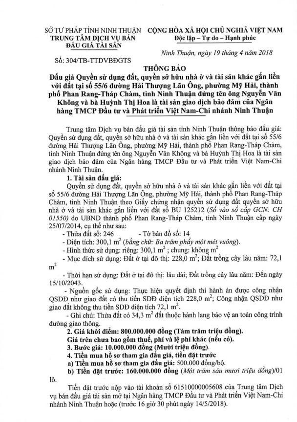 Đấu giá quyền sử dụng đất, quyền sở hữu nhà và TSKGLVĐ tại TP.Phan Rang Tháp Chàm, Ninh Thuận - ảnh 1