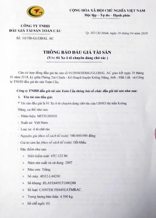 Đấu giá xe chuyên dùng chở rác tại Đắk Lắk - ảnh 1