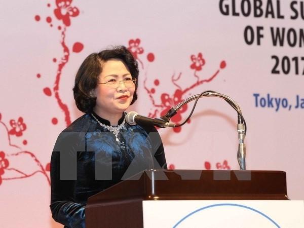Phó Chủ tịch nước Đặng Thị Ngọc Thịnh phát biểu tại Lễ bế mạc Hội nghị Thượng đỉnh Phụ nữ toàn cầu năm 2017 tại Nhật Bản. Ảnh: TTXVN