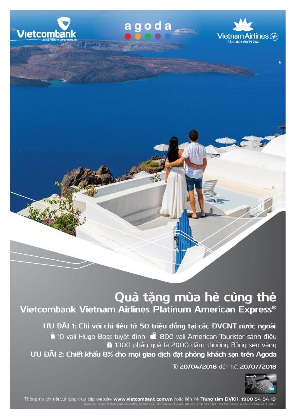 Mùa hè hấp dẫn dành cho chủ thẻ Vietcombank Vietnam Airlines Platinum American Express®  chi tiêu tại nước ngoài - ảnh 1