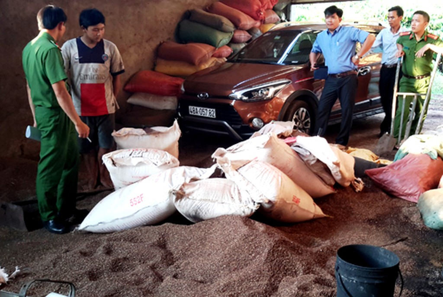 Hàng chục tấn phế phẩm cà phê tại cơ sở của bà Loan bị phát hiện hôm 16/4.