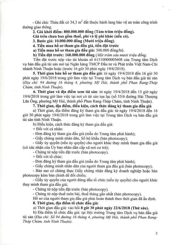 Đấu giá quyền sử dụng đất, quyền sở hữu nhà và TSKGLVĐ tại TP.Phan Rang – Tháp Chàm, Ninh Thuận - ảnh 2