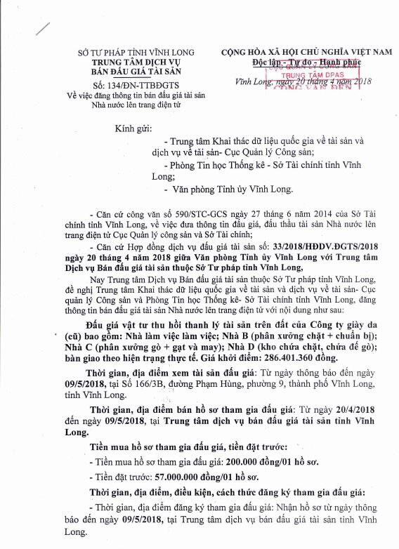 Đấu giá vật tư thu hồi tài sản trên đất tại Vĩnh Long - ảnh 1