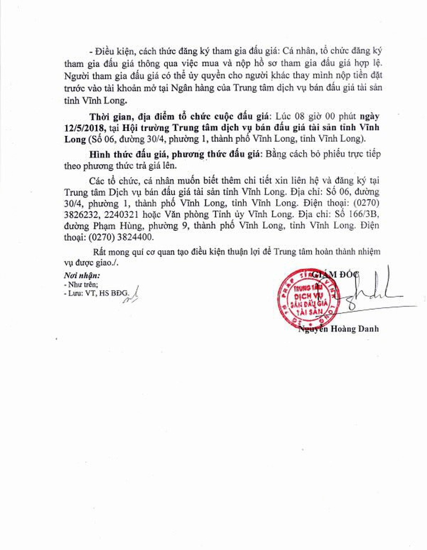 Đấu giá vật tư thu hồi tài sản trên đất tại Vĩnh Long - ảnh 2