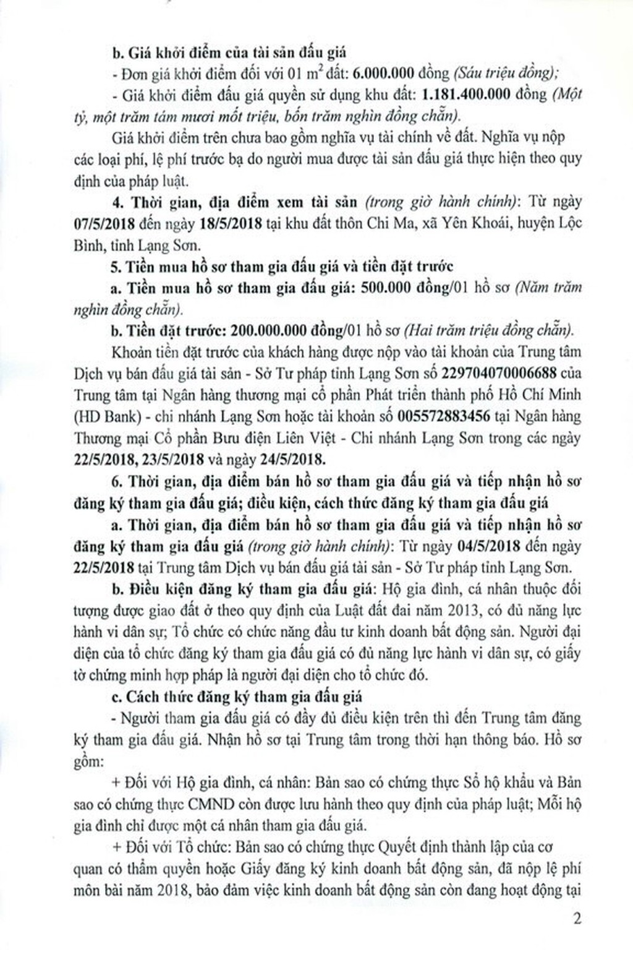 Đấu giá quyền sử dụng đất tại huyện Lộc Bình, Lạng Sơn - ảnh 2