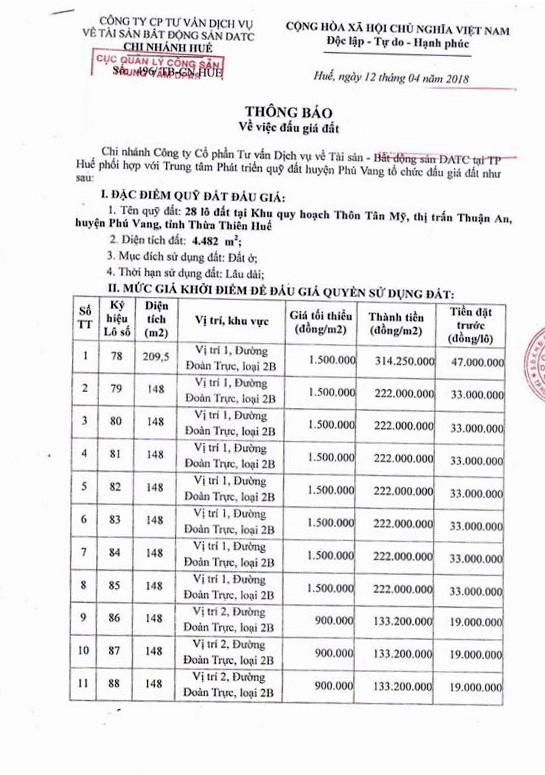 Đấu giá quyền sử dụng đất tại huyện Phú Vang, Thừa Thiên Huế - ảnh 1