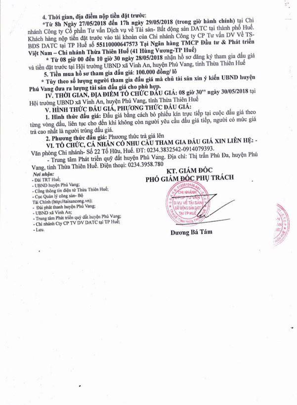Đấu giá quyền sử dụng đất tại huyện Phú Vang, Thừa Thiên Huế - ảnh 2