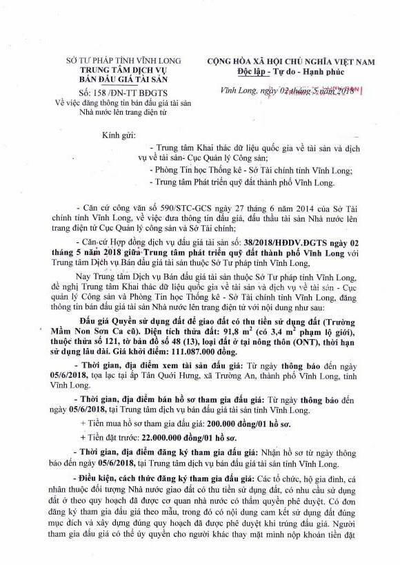 Đấu giá quyền sử dụng đất tại TP.Vĩnh Long, Vĩnh Long - ảnh 1