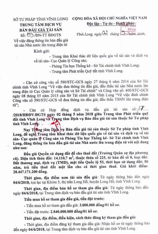 Đấu giá quyền sử dụng đất tại huyện Long Hồ, Vĩnh Long - ảnh 1