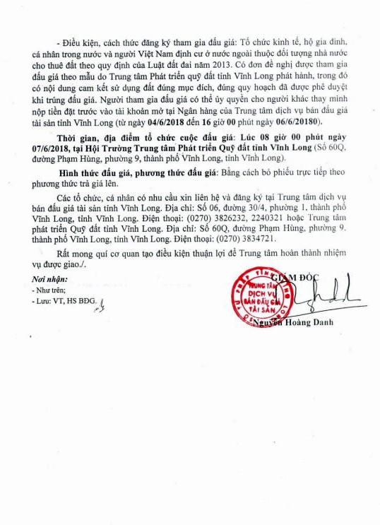 Đấu giá quyền sử dụng đất tại huyện Long Hồ, Vĩnh Long - ảnh 2